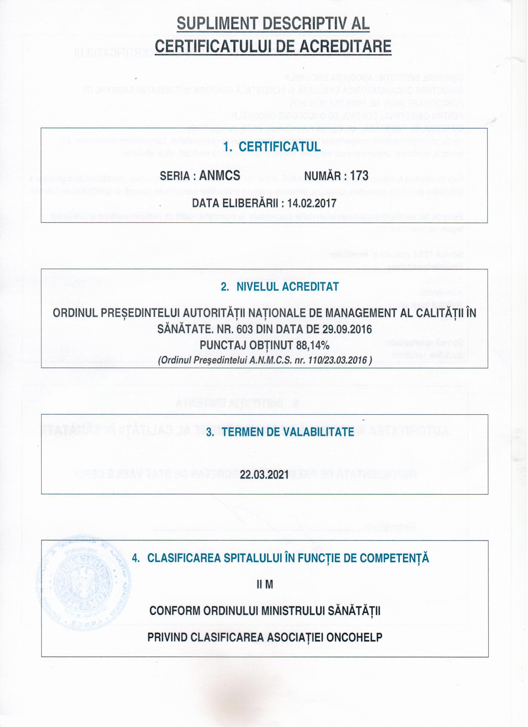 Certificat de acreditare 2